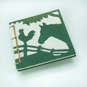 On the Farm - Twine Journal and Scratch Pad - Horse & Rooster - Green