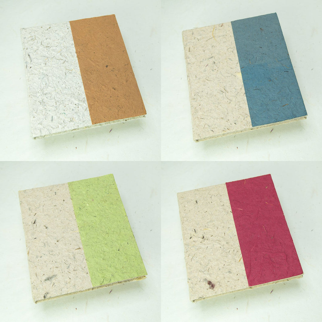 Two-Tone, Eco-Friendly, Tree-Free, Sustainable Journal made from Elephant POOPOOPAPER - Front - Set of Four