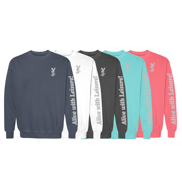 Dawn Patrol 3M REFLECTIVE - Garment Dyed  Newport Days Logo Crewneck Sweatshirt