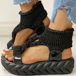 Load image into Gallery viewer, Woven fabric thick sole sandals