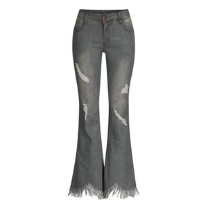 Denim High-waist Ripped Trousers