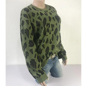 Women Long-sleeved Round Neck Solid Leopard Sweater