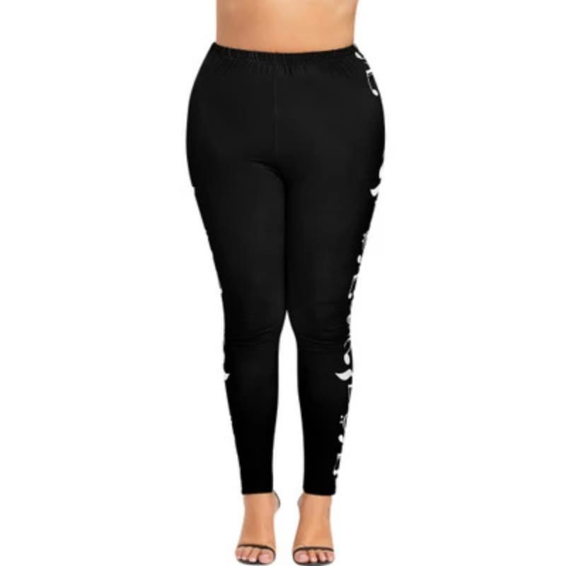 Plus Size High Waist Legging Music Note Print Sport Pants