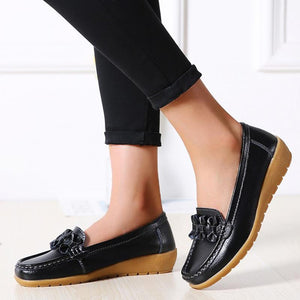 Women Solid Color Bowknot Casual Loafers