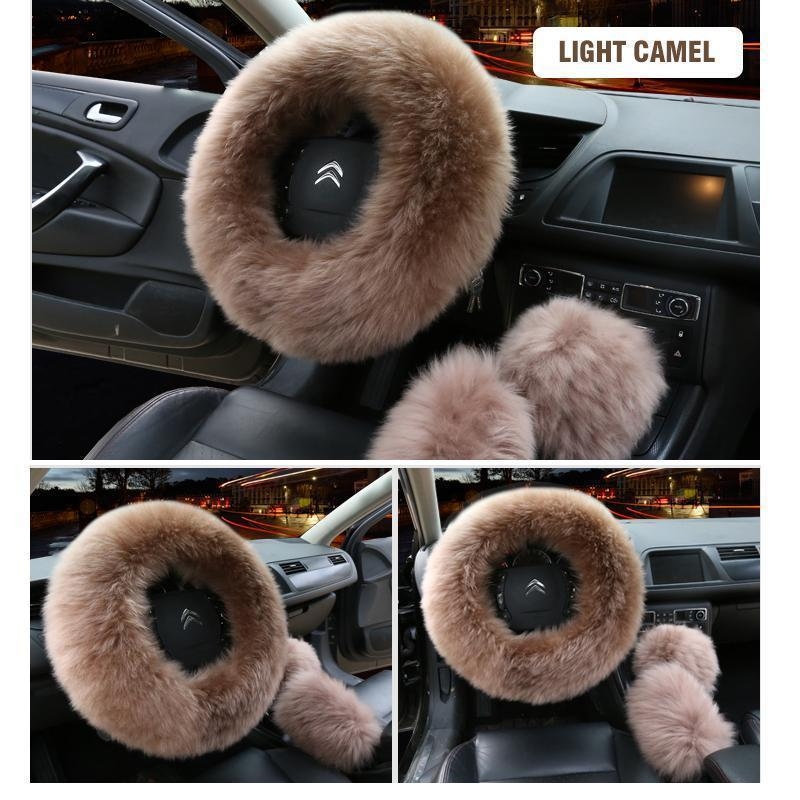 Solid Colour Warm Fluffy Wool Car Set