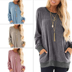 Load image into Gallery viewer, Womens Casual Color Block Long Sleeve Round Neck Pocket T Shirts