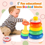 Load image into Gallery viewer, Rock-a-Stack toys rainbow tower Stacked blocks