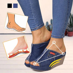 Fashion Denim Wedge Heel Sandals