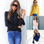 Load image into Gallery viewer, Lace-up Long Sleeve Chiffon Blouse