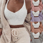 Load image into Gallery viewer, Fluffy Hooded Open Front Teddy Coat & Short Sets