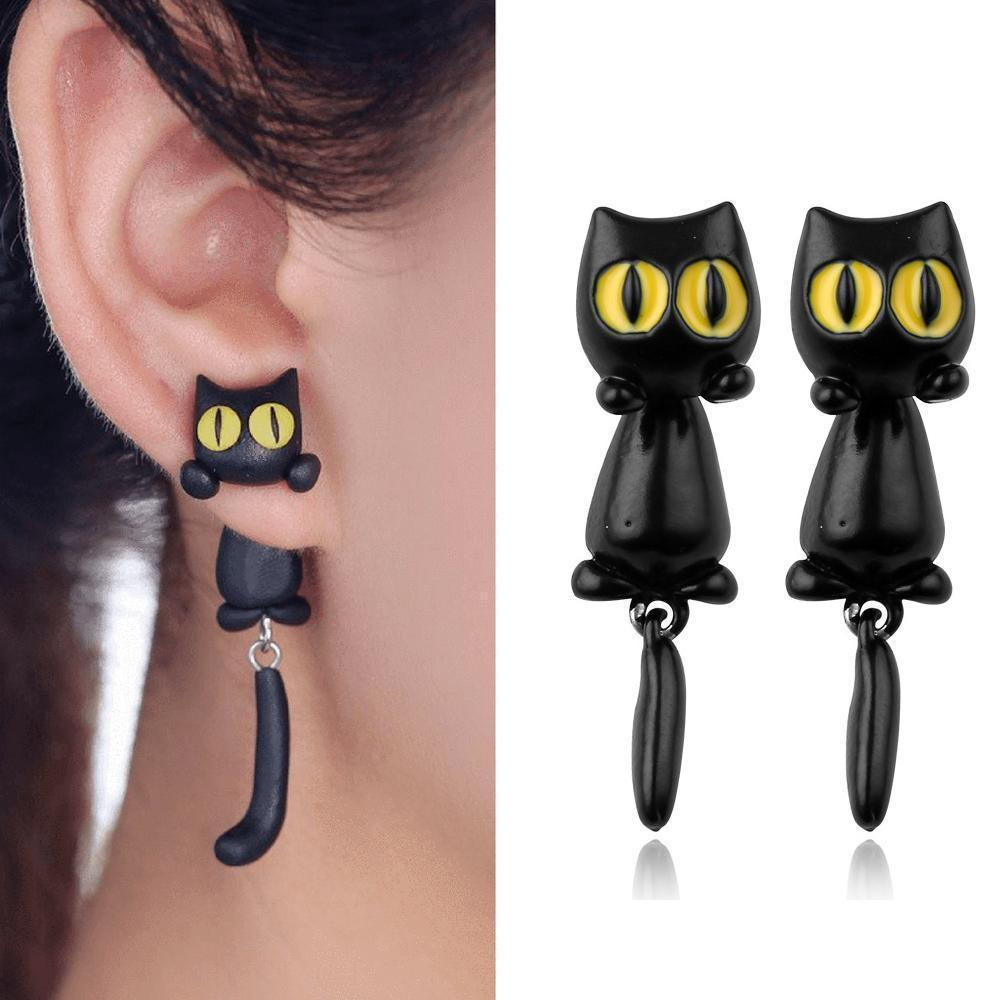 Unique Yellow-Eye Cat Earrings