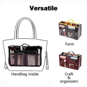 Women's Bag Practical Handbag Purse Nylon Dual Organizer Insert Cosmetic Storage