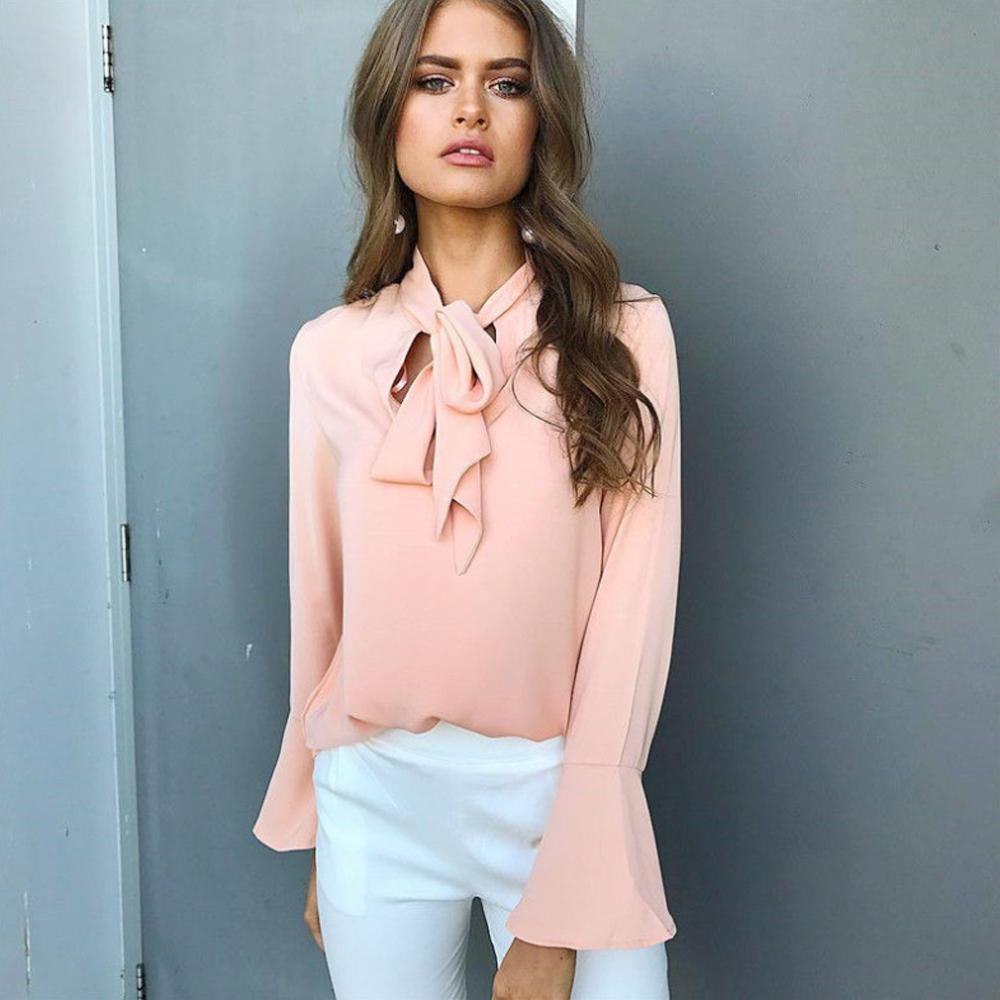 Lace-up Long Sleeve Chiffon Blouse