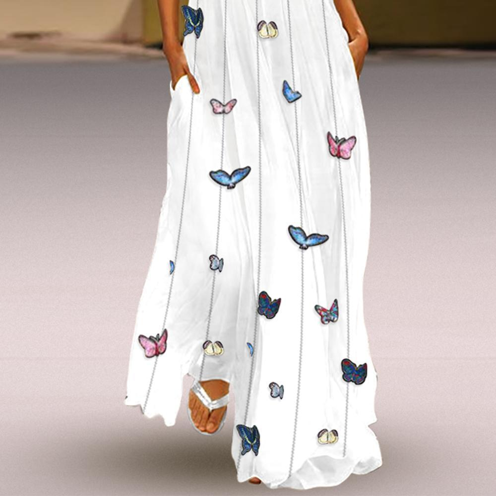 New Butterfly Printed Maxi Shift Dress.MC
