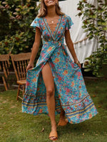 Load image into Gallery viewer, New Bohemian Big Pendulum V-Neck Beach Holiday Tie Printing Maxi Dresses.MC