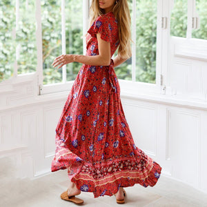 New Bohemian Big Pendulum V-Neck Beach Holiday Tie Printing Maxi Dresses.MC
