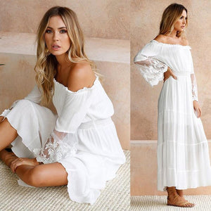 Tulle Off Shoulder Frilled Vacation Dress
