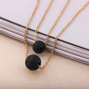 Lava Stone Pendant Essential Oil Diffuser Multilayer Necklace
