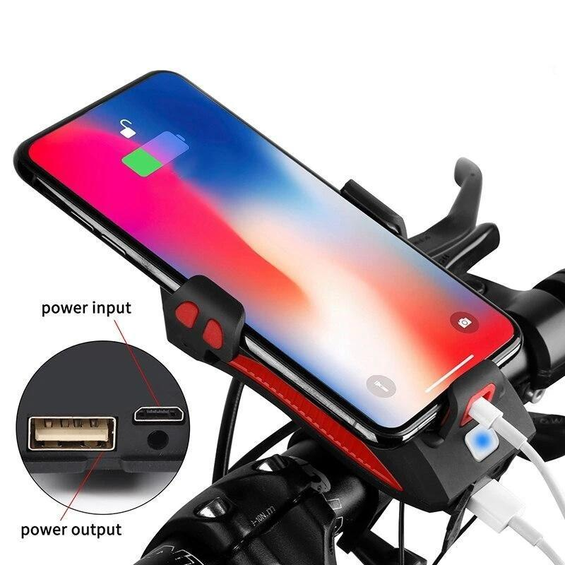 Mobile Phone Bracket with Bicycle Lights