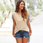 Load image into Gallery viewer, Round Collar Tassel T-shirt