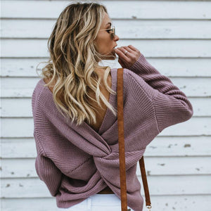 Women's Casual Cross Backless Long Batwing Sleeve Sweater