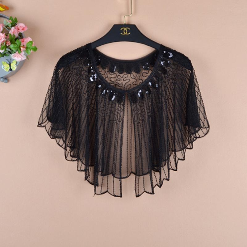 Vintage Women Sequin Cape Dress Shawl