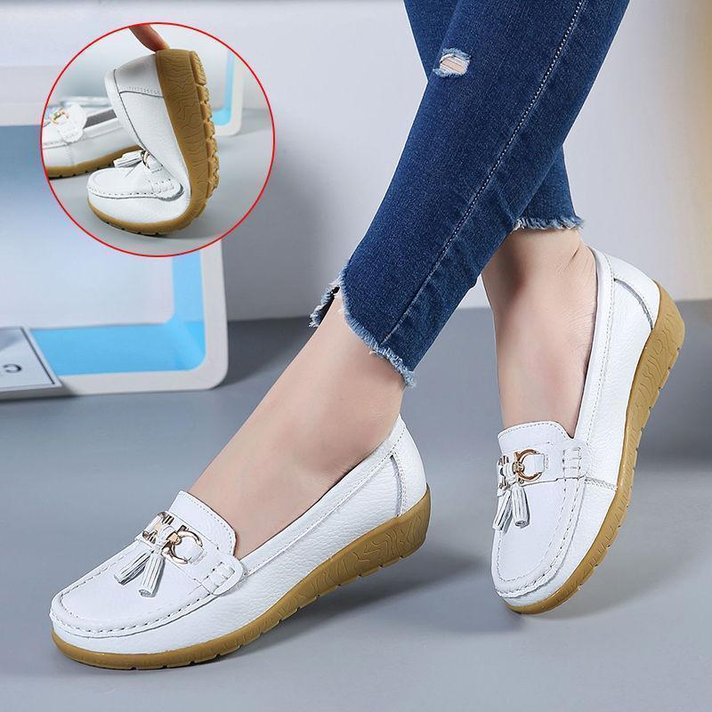 Women's Leather Loafers Breathable Slip on Driving Shoes
