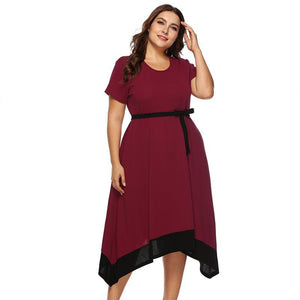 Plus Size Bow Belt Dress