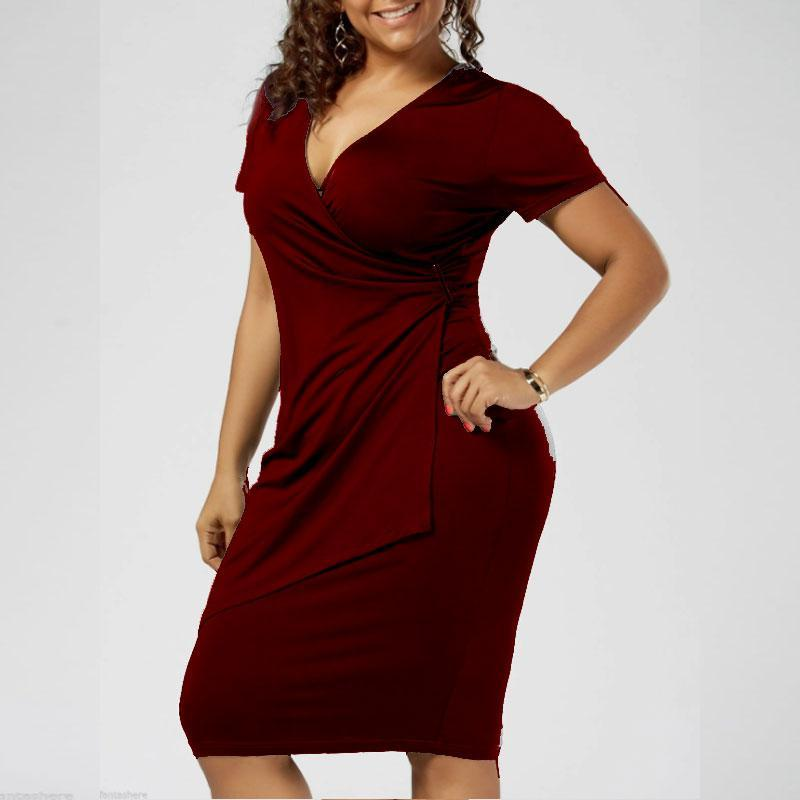 Plus Size V-Neck Sexy Dress