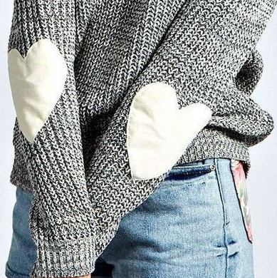 Women Casual Heart Long Sleeve Jumper Knitted Sweater