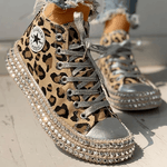 Load image into Gallery viewer, Leopard Rivet Embellished Lace-Up Sneakers