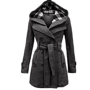 Women Double Breasted Slim Hoodie Solid Casual Long Pea Coat with Belt