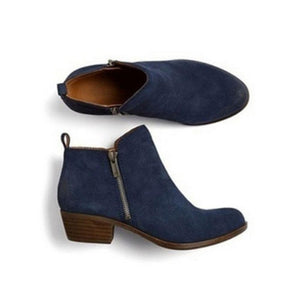 Women New Leather Suede Booties Ankle Vintage Boots