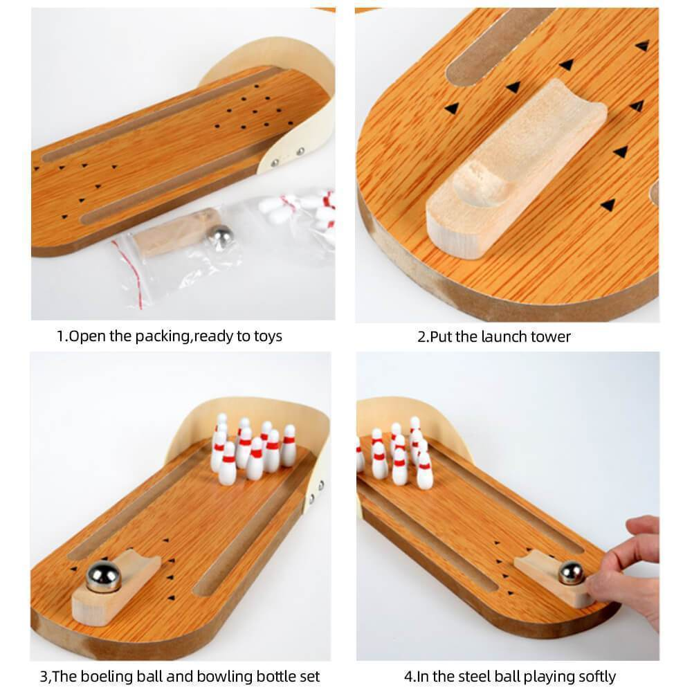 Indoor Wooden Mini Bowling Game Set
