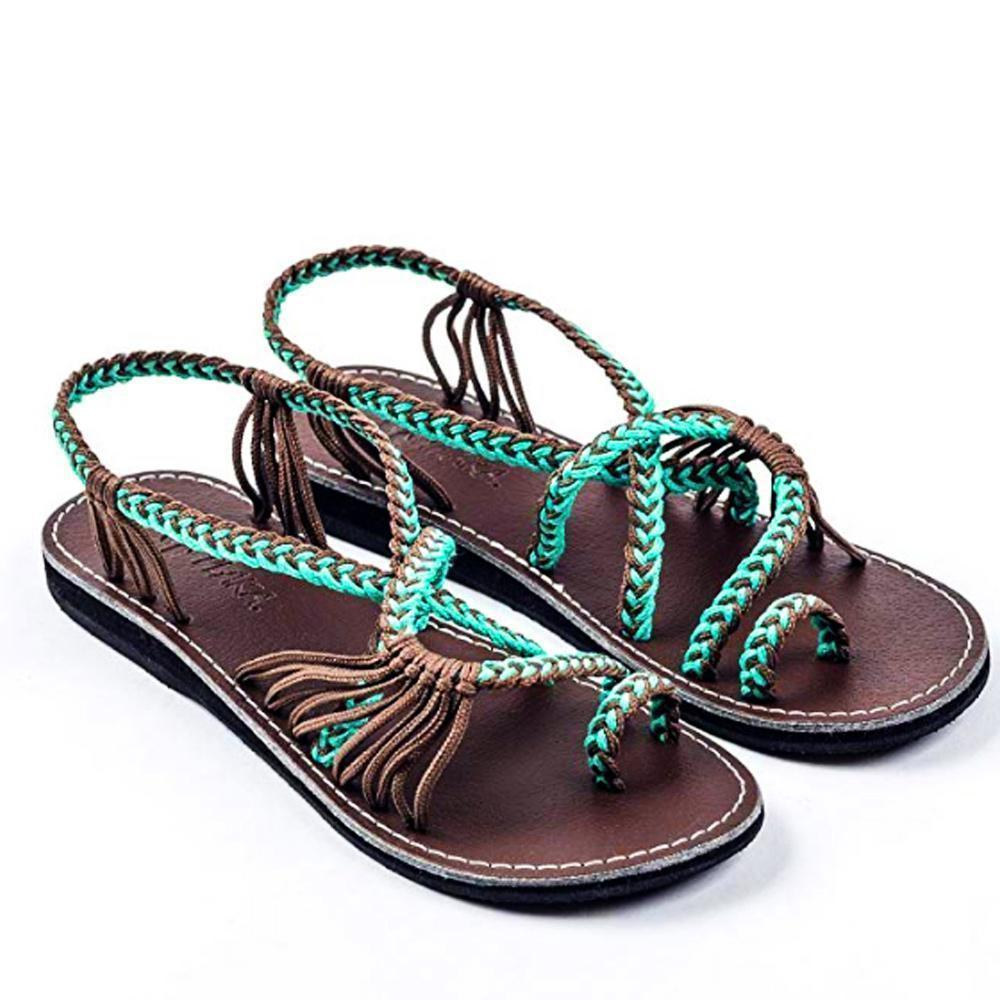 Palm Leaf Flat Sandals for Women, 1 Pair