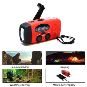 Solar Hand-cranked Radio with LED Flashlight