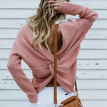 Load image into Gallery viewer, Women's Casual Cross Backless Long Batwing Sleeve Sweater
