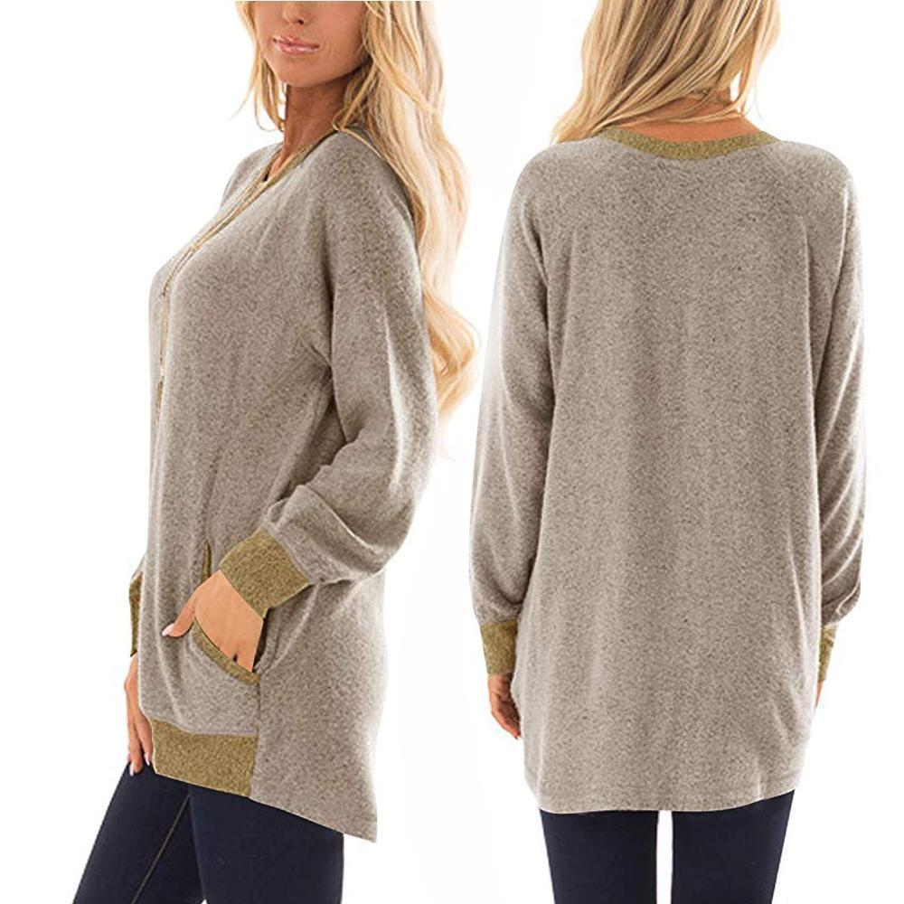 Womens Casual Color Block Long Sleeve Round Neck Pocket T Shirts