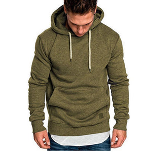 Loose Plain Lace Up Pullover Men's Hoodie with Pocket