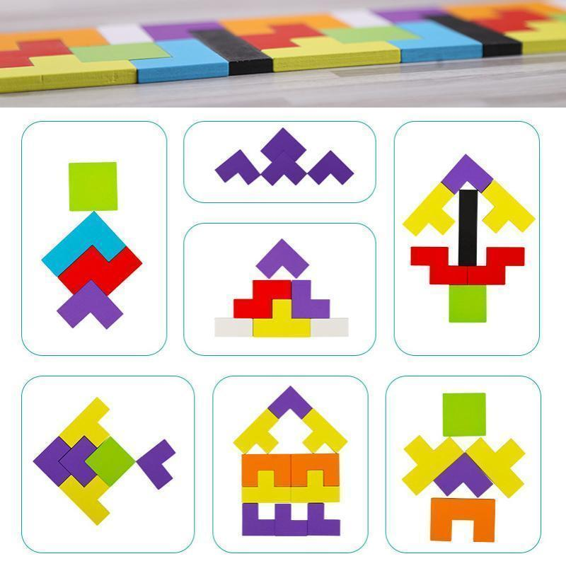 Tangram Jigsaw Intelligence Colorful 3D Russian Blocks Game