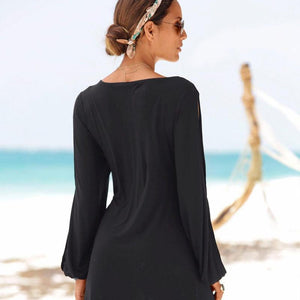 Round Neck Slit Sleeves Shift Dress