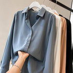 Load image into Gallery viewer, Women Solid Color Chiffon Shirts