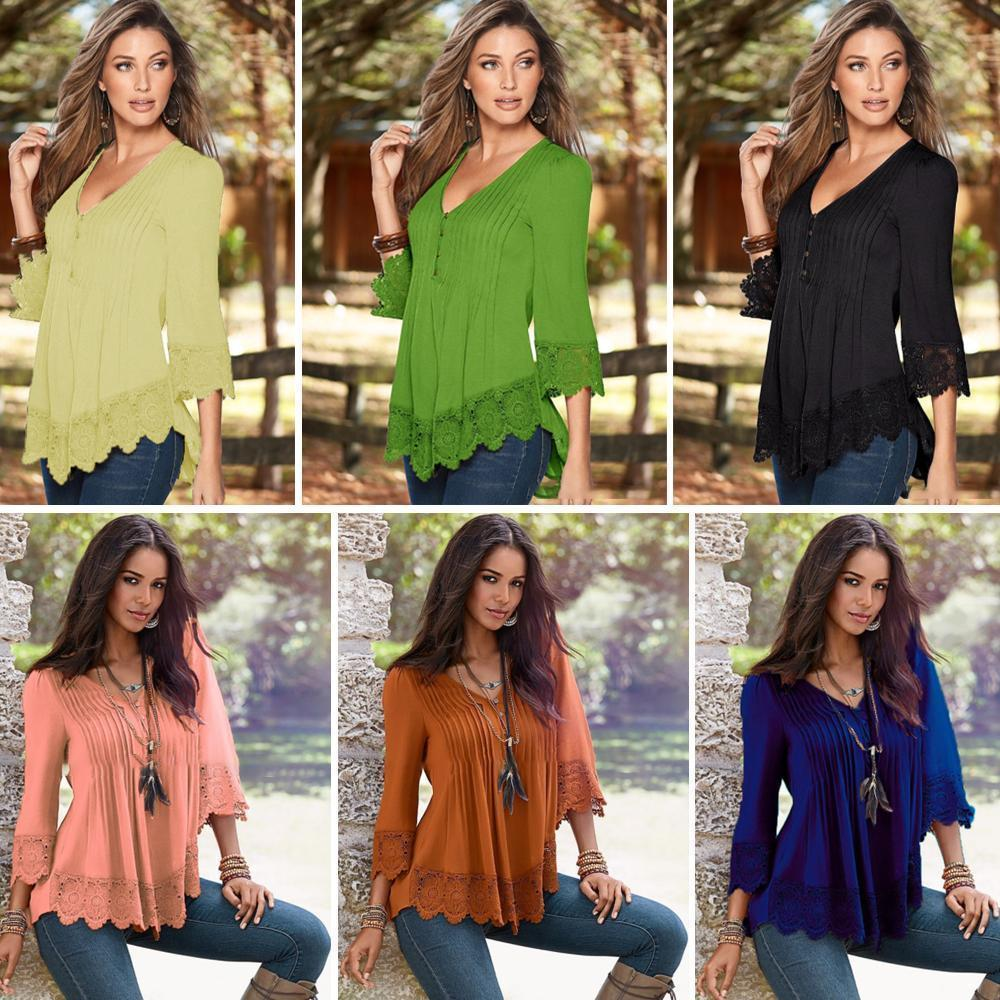 V-Neck Splicing Single-Breasted Blouse