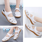 Load image into Gallery viewer, Leather Hollow Out Hook Loop Casual Flat Sandals For Women