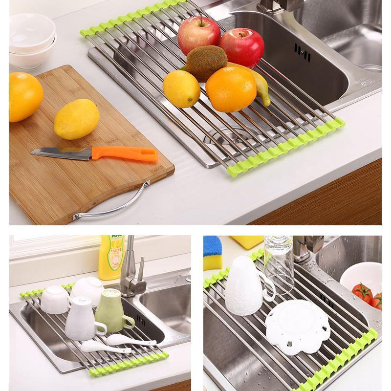 Stainless Steel Roll Up Dish Drying Rack, Foldable