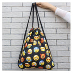 Load image into Gallery viewer, Funny Emoji Print Drawstring Bag