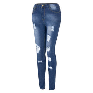 Fashionable denim tripped jeans