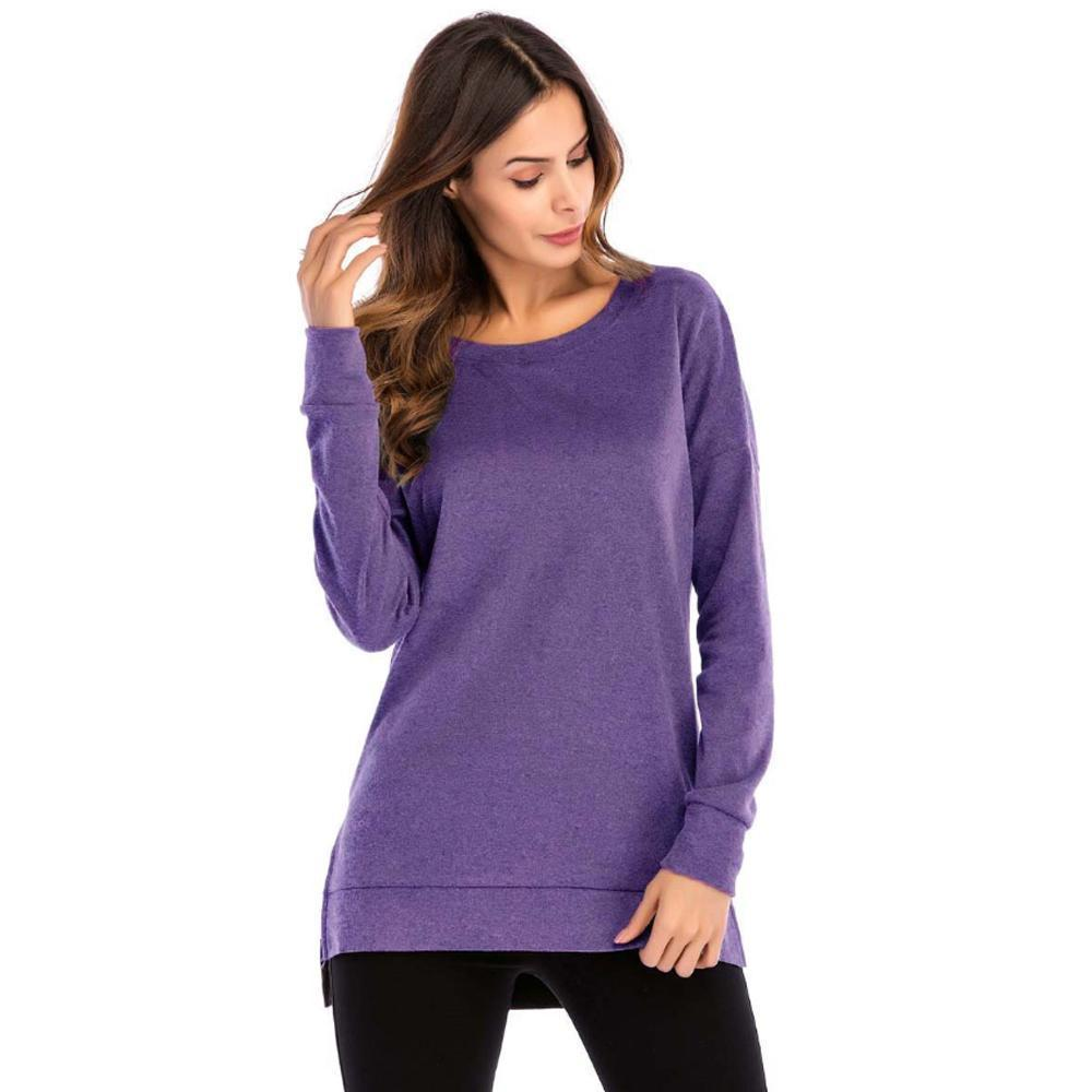 Women's Side Split Loose Casual Pullover Tunic Tops