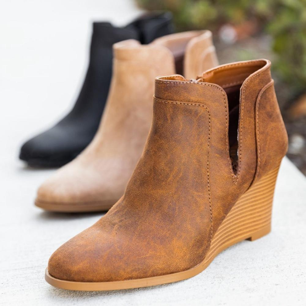 Women Round Toe Casual Outdoor Boots