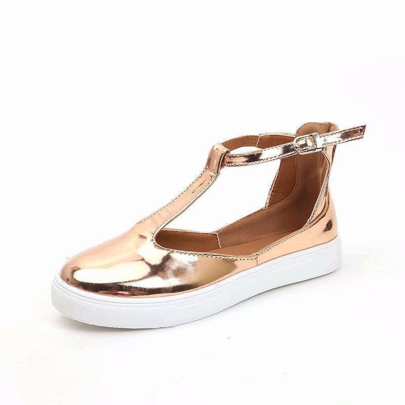 Women Flats Shoes Autumn Rome Style Buckle Strap Casual